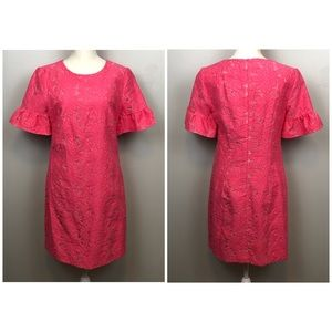 Trina Turk Pink Lace Short Sleeve Shift Dress Sz 4